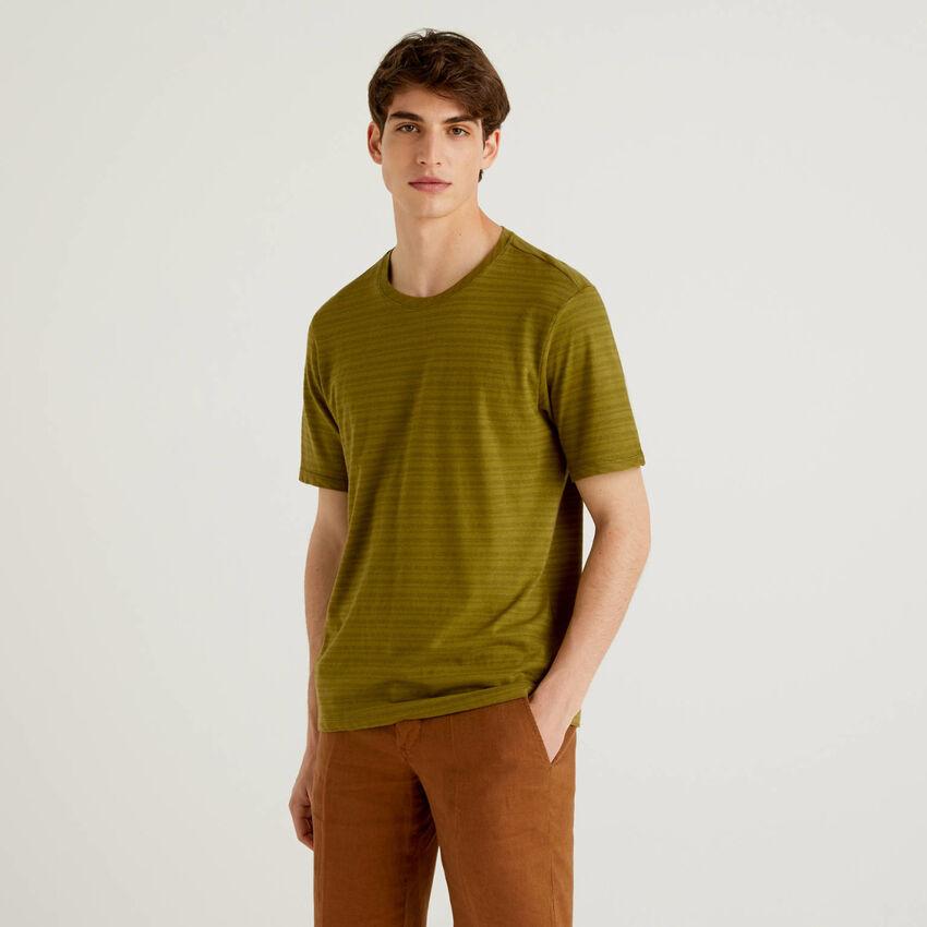T-shirt ριγέ από ανάμεικτο λινό