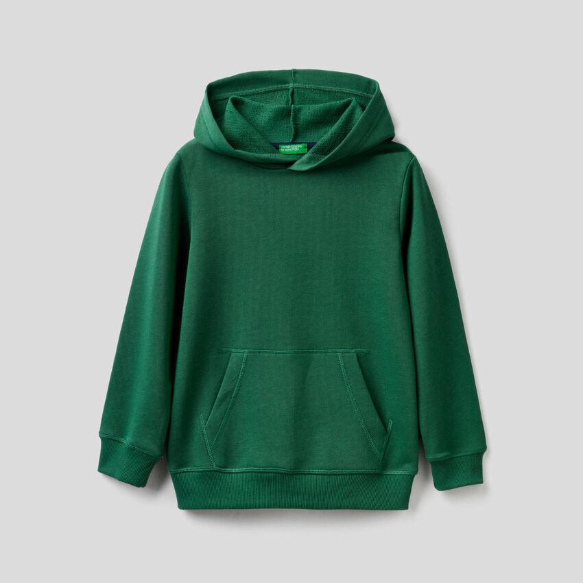Φούτερ πράσινο σκούρο με κουκούλα