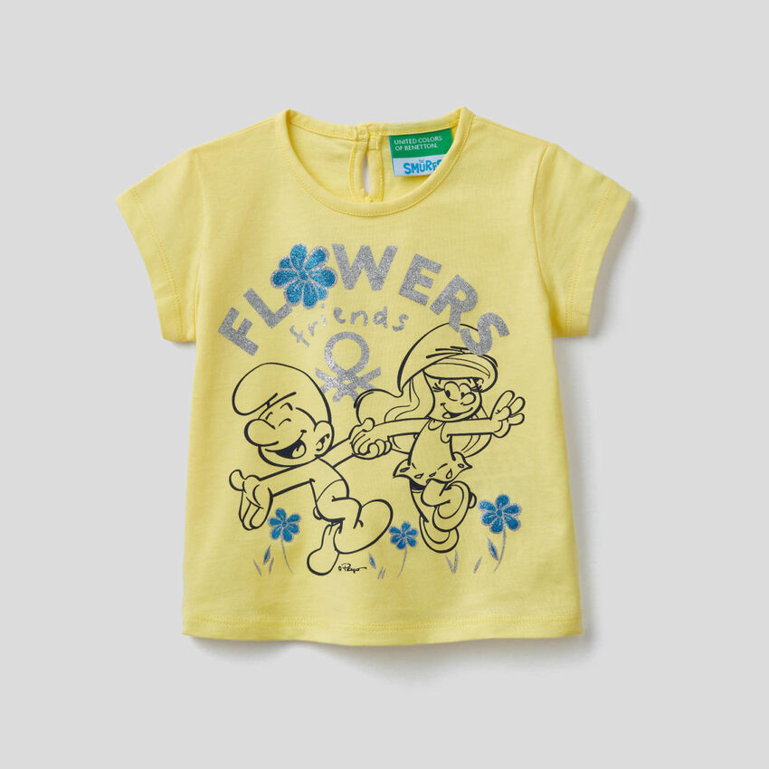 T-shirt κίτρινο με τύπωμα Τα Στρουμφάκια