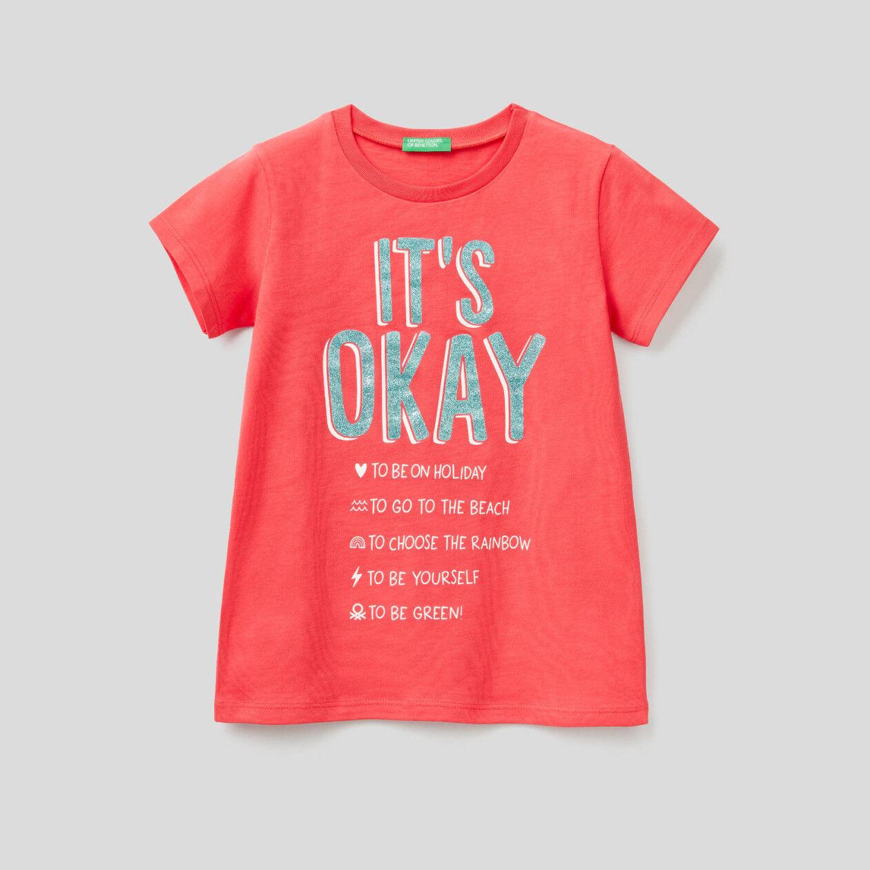 T-shirt με glitter τύπωμα