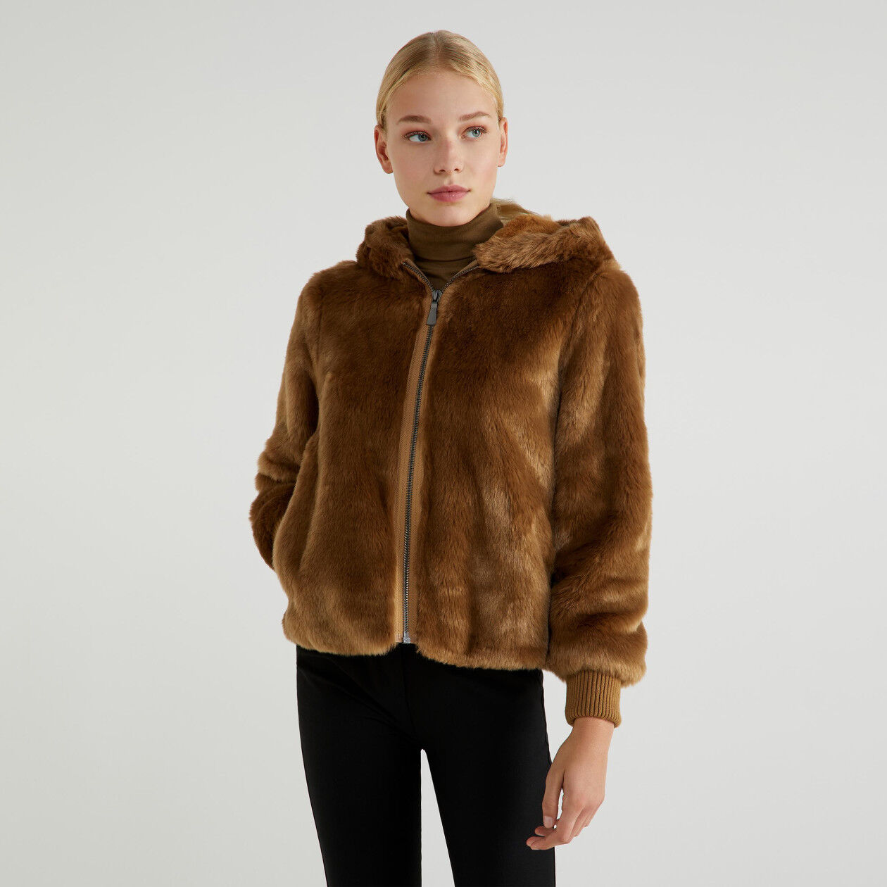 Jacket in synthetic fur
