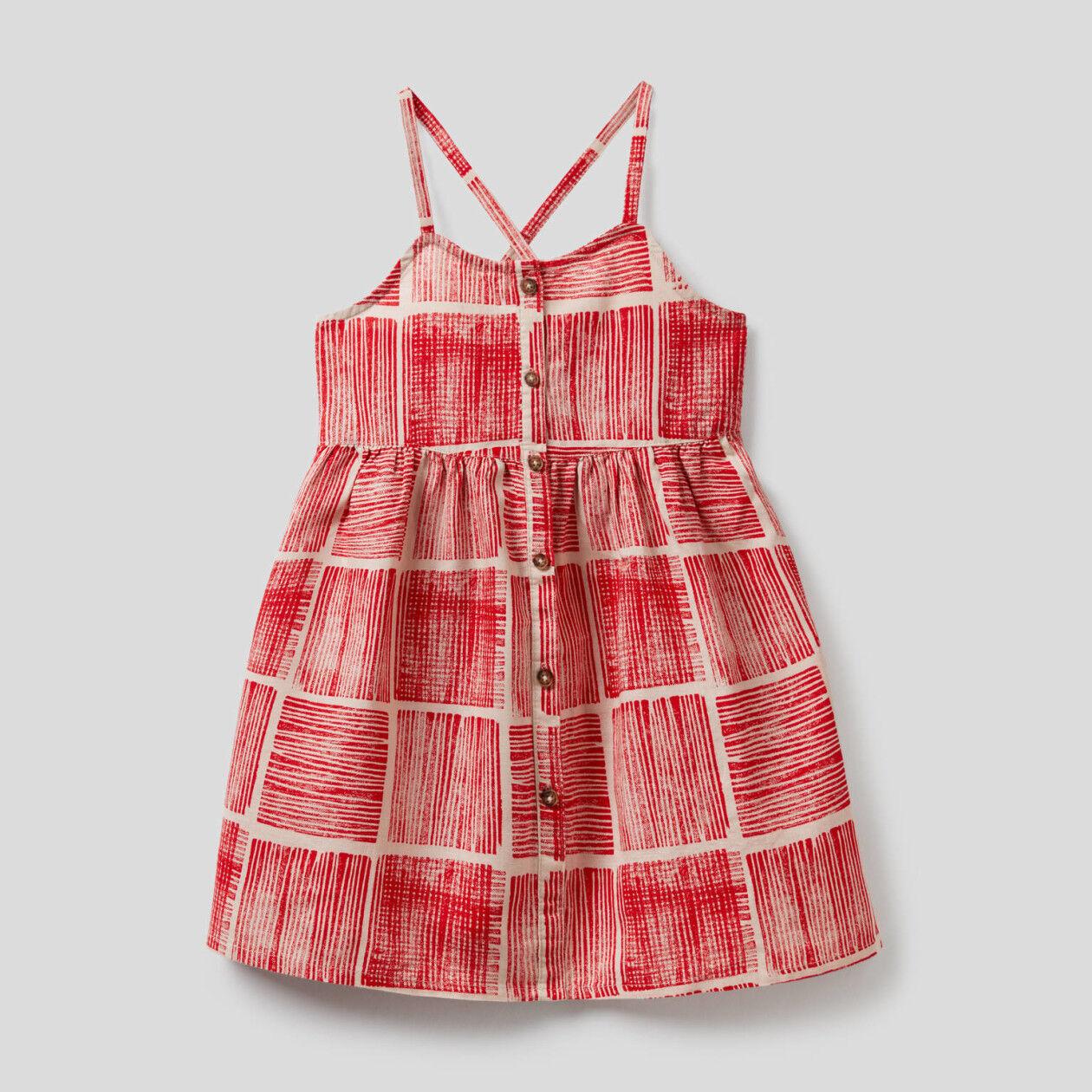 Φόρεμα με τύπωμα από βαμβακερό ανάμεικτο λινό
