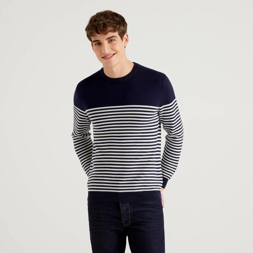 Striped 100% cotton crew neck sweater