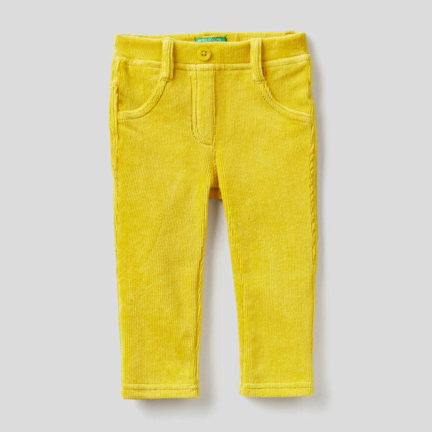 Παντελόνι από σενίλ με ριπ ύφανση