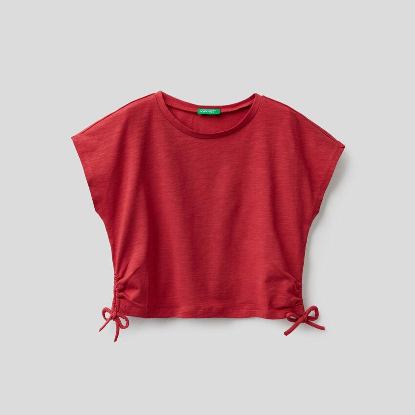 T-shirt από βαμβακερό stretch με φιογκάκια