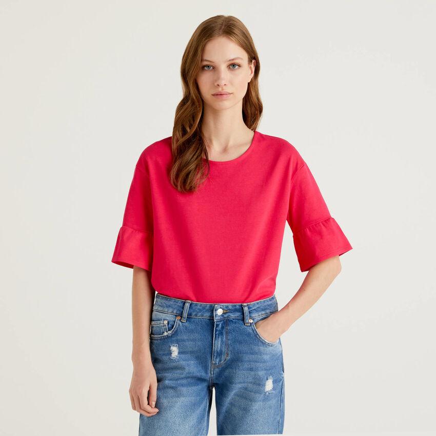 T-shirt με κοντά μανίκια βολάν