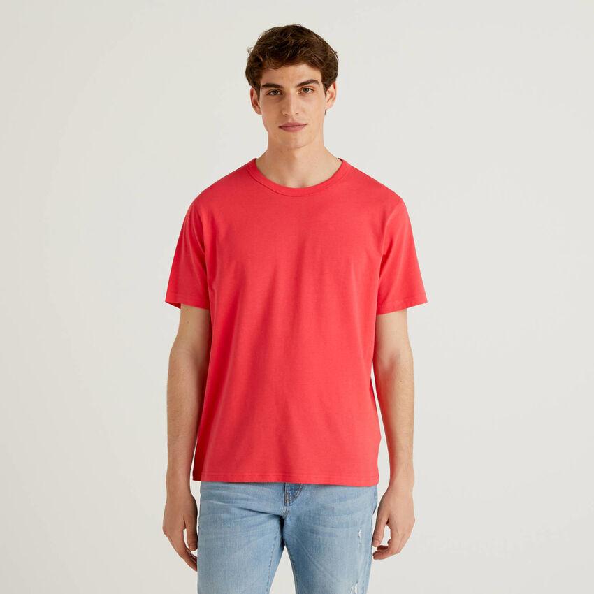 T-shirt κόκκινο 100% βαμβακερό με τύπωμα