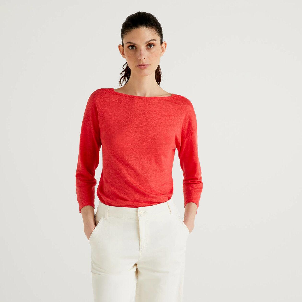 T-shirt από 100% λινό με μανίκια 3/4