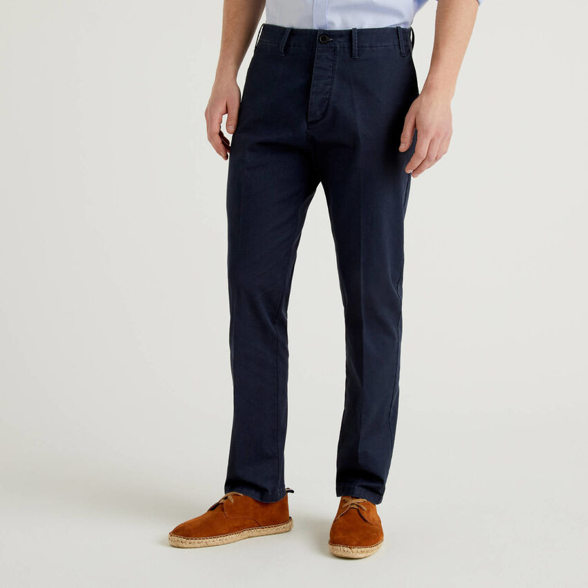 Stretch cotton chino trousers
