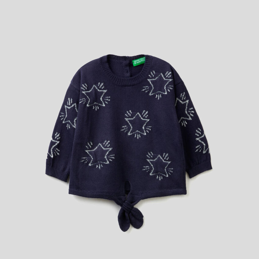 Μπλούζα με διακοσμητικά αστέρια και φιόγκο