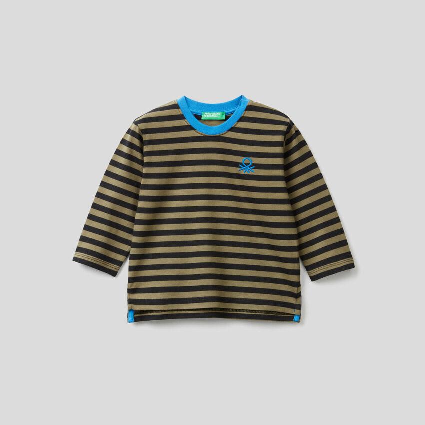 T-shirt ριγέ από αγνό οργανικό βαμβακερό