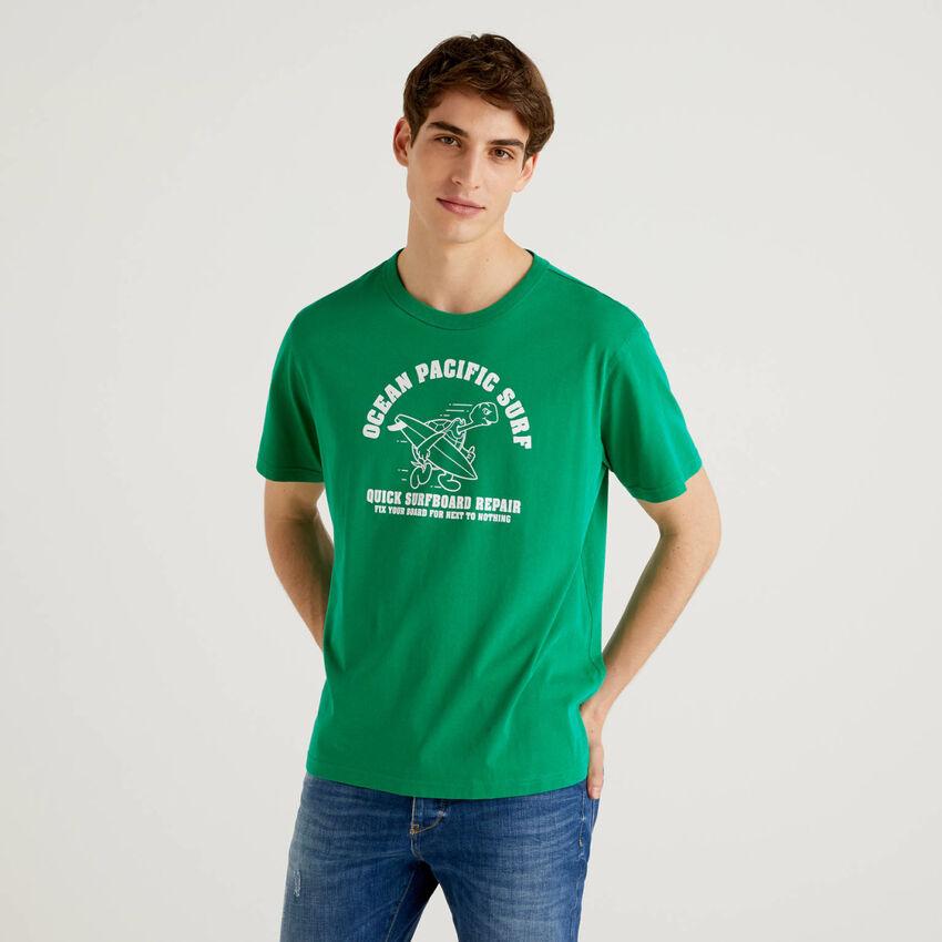 T-shirt πράσινο 100% βαμβακερό με τύπωμα