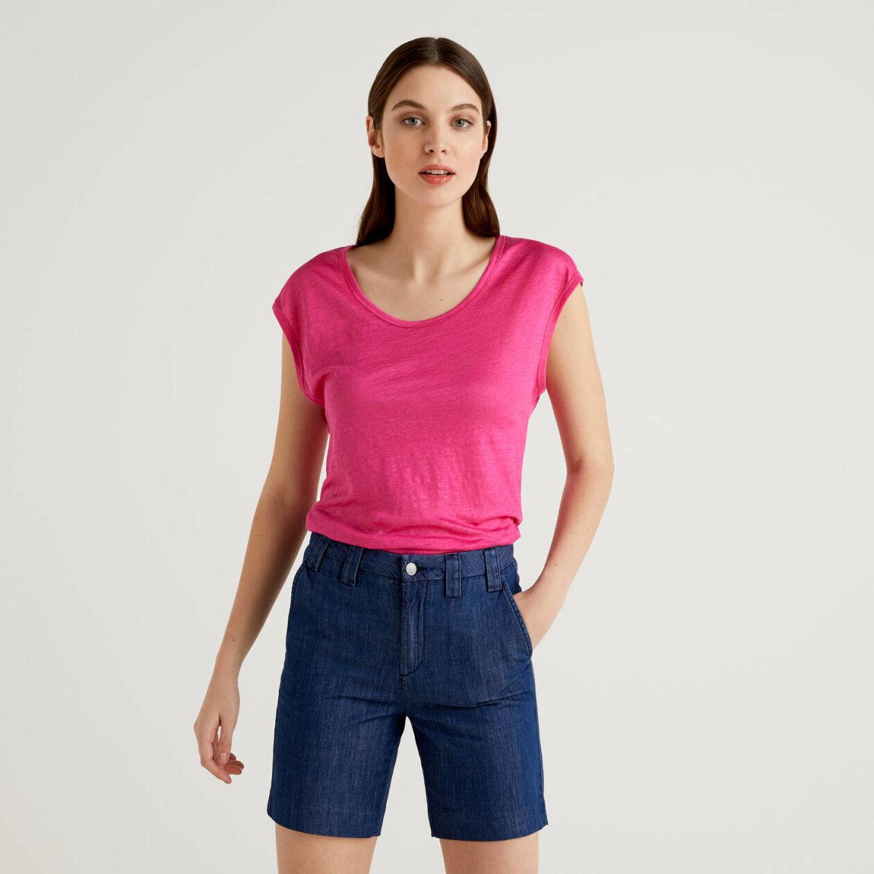 T-shirt κοντομάνικο από 100% λινό