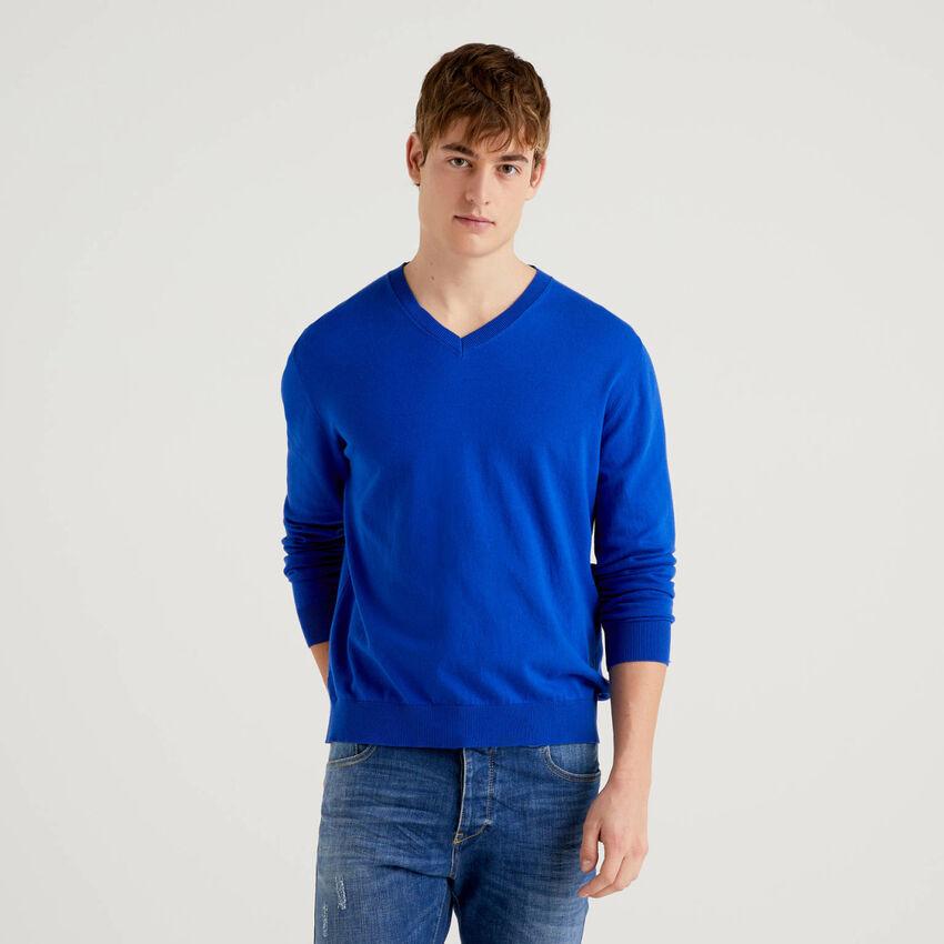 Μπλούζα με V λαιμόκοψη ανάμεικτο βαμβακερό