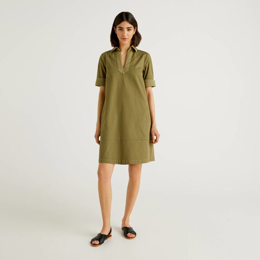 Flared dress in stretch cotton