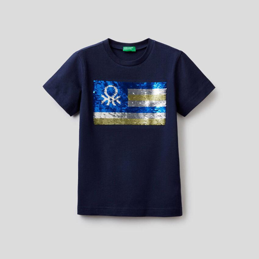 T-shirt από αγνό βαμβακερό με παγιέτες