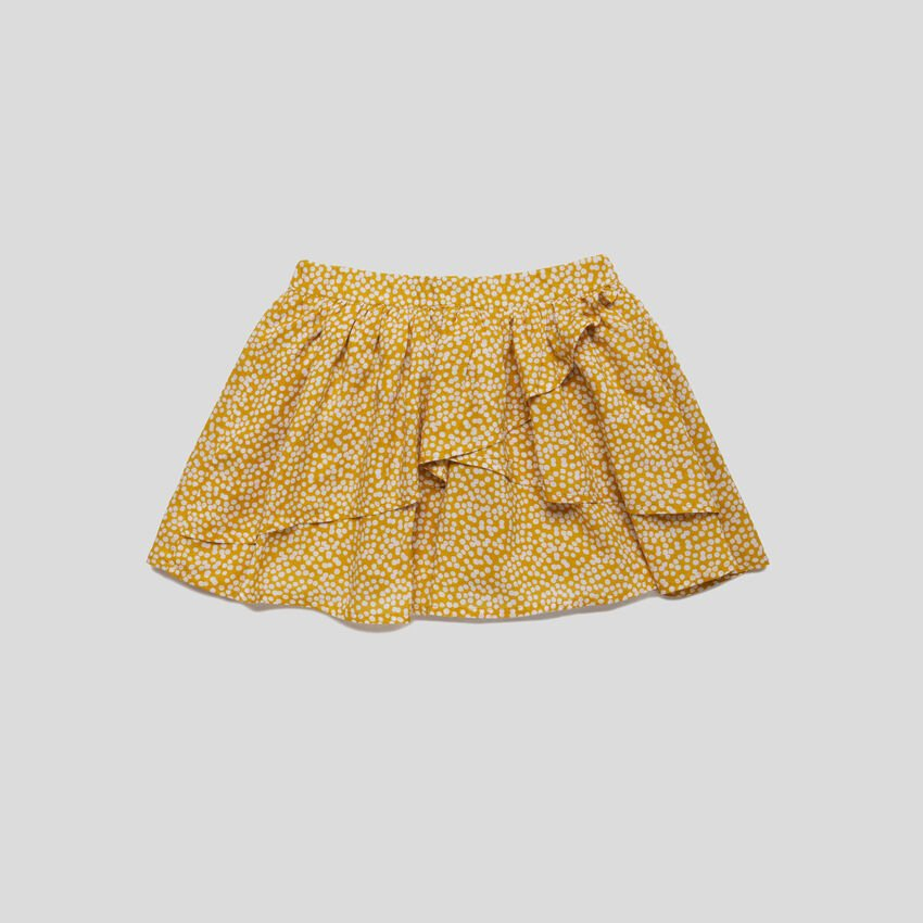 Printed skirt with frills