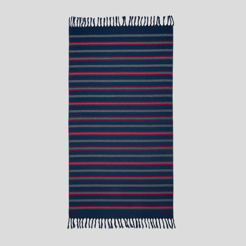 Striped beach towel with fringe