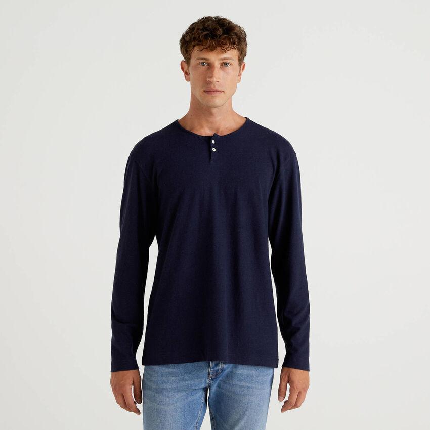 T-shirt serafino από ανάμεικτο λινό