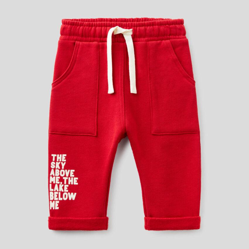 Παντελόνι φούτερ baggy fit κόκκινο
