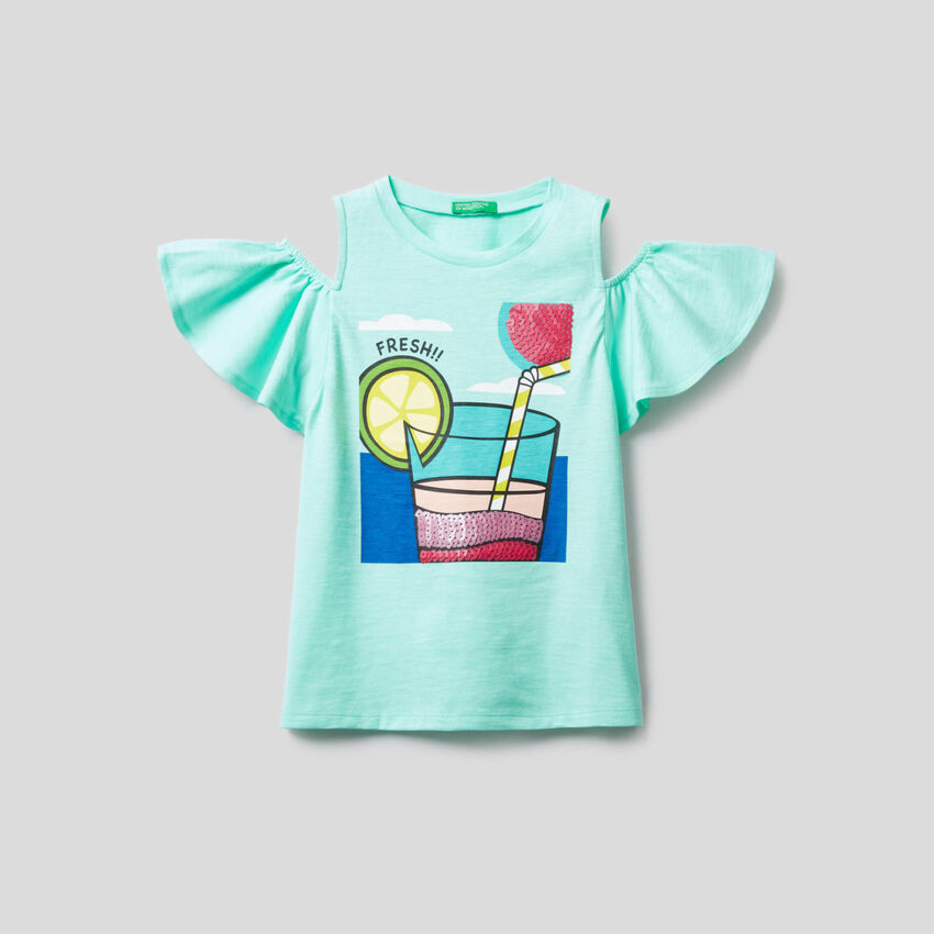 T-shirt με λεπτομέρειες από παγιέτες