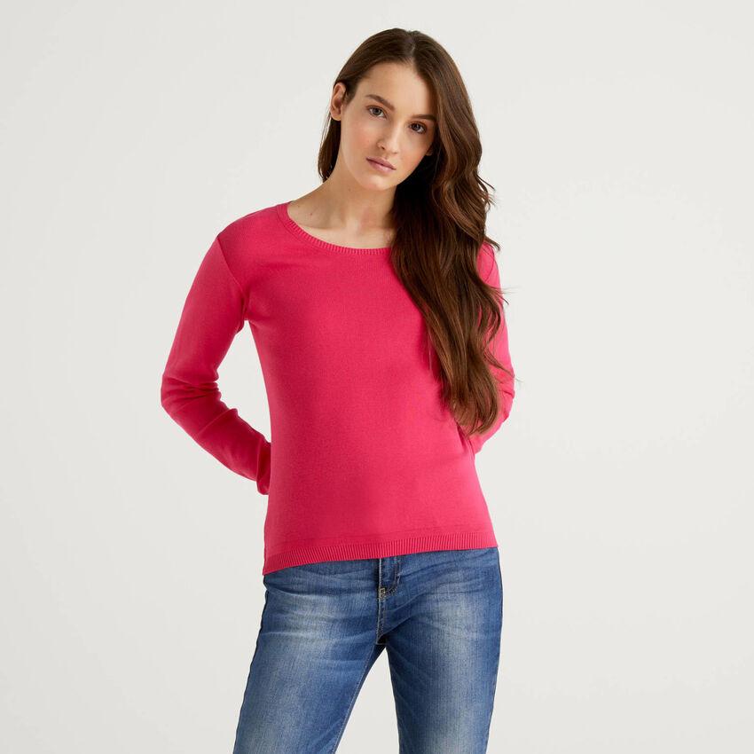 Μπλούζα με λαιμόκοψη από αγνό βαμβακερό