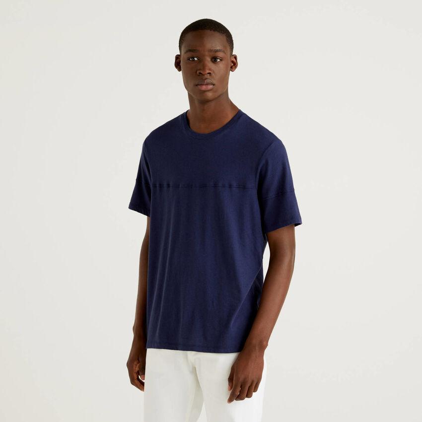 T-shirt μονόχρωμο από ανάμεικτο λινό