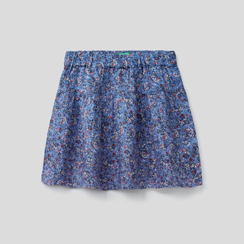 Φούστα ριχτή με floral τύπωμα