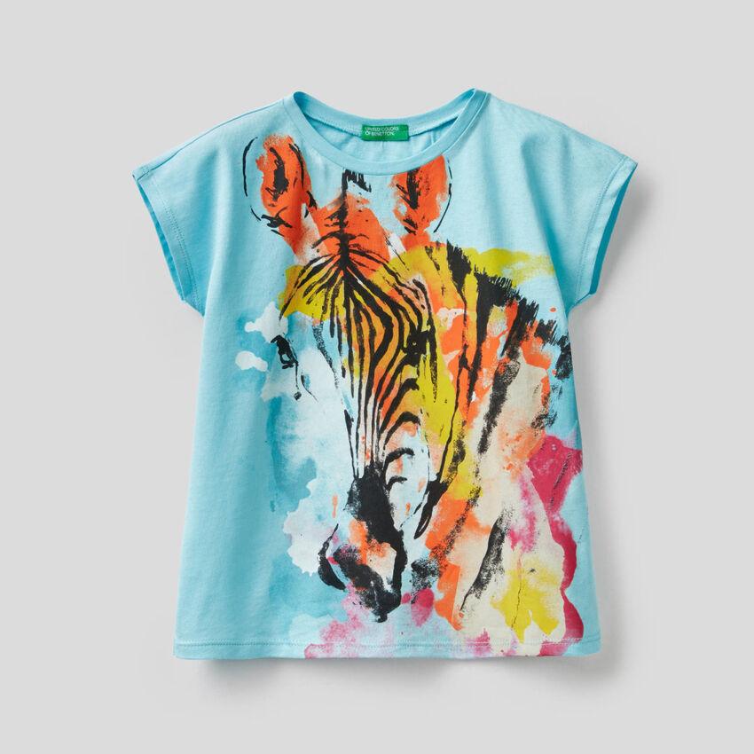 T-shirt με πολύχρωμο τύπωμα με ζέβρα