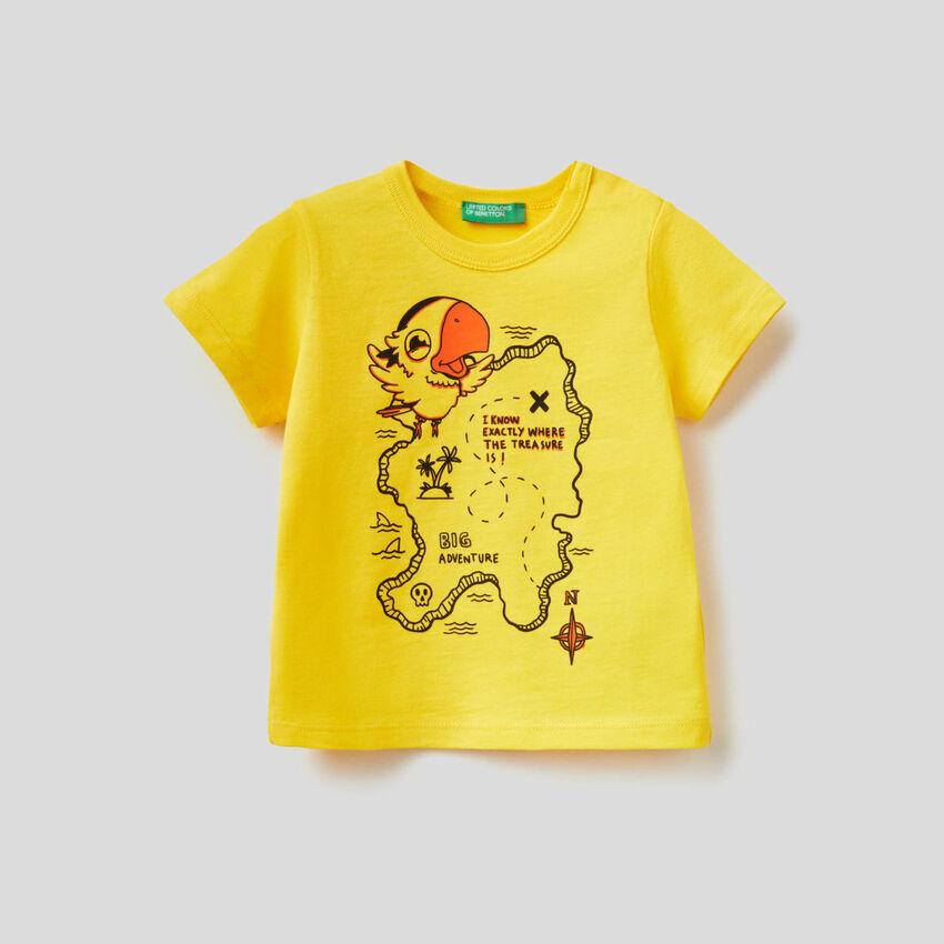 T-shirt 100% βαμβακερό με μάξι τύπωμα