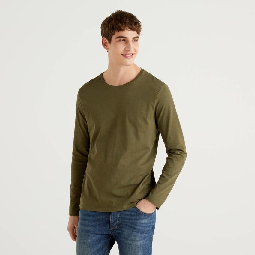 Long sleeve pure cotton t-shirt