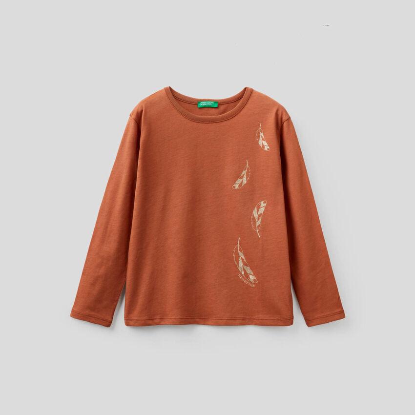 T-shirt μακρυμάνικο με glitter τύπωμα