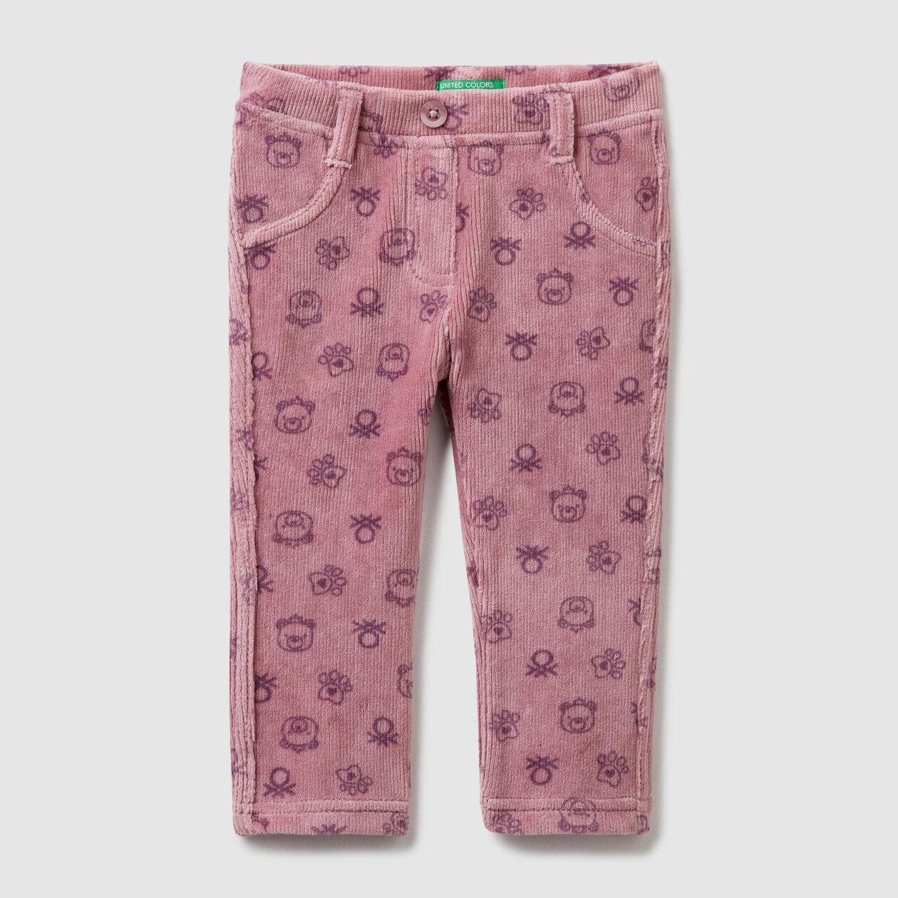 Παντελόνι με τυπώματα με ριπ ύφανση