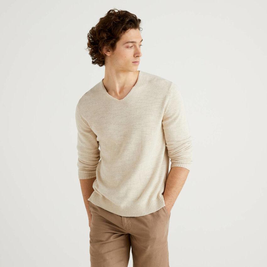 Μπλούζα με V λαιμόκοψη από βαμβακερό ανάμεικτο λινό