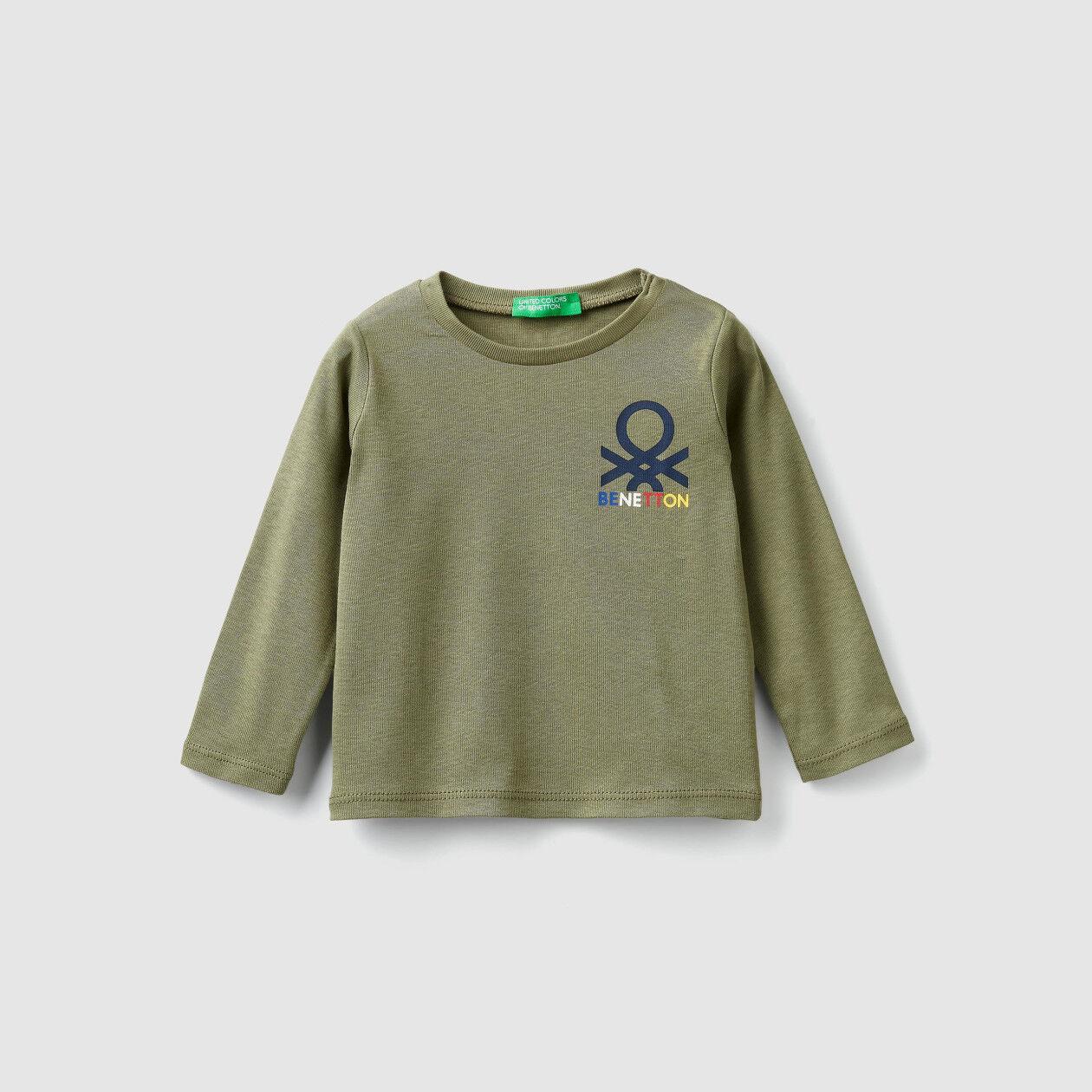 T-shirt με ριπ ύφανση και λογότυπο