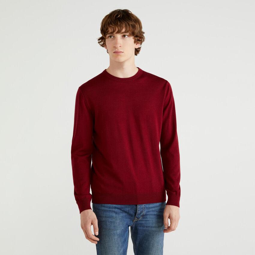 Μπλούζα με λαιμόκοψη από αγνό μαλλί Merino Extra Fine
