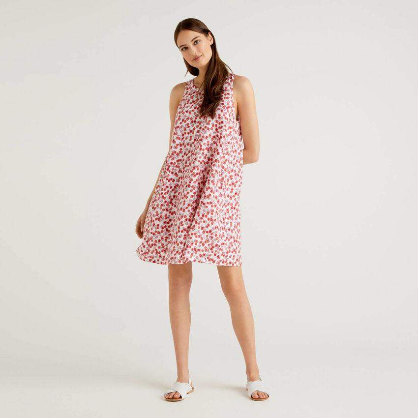 Φόρεμα 100% λινό με τύπωμα με σχέδια