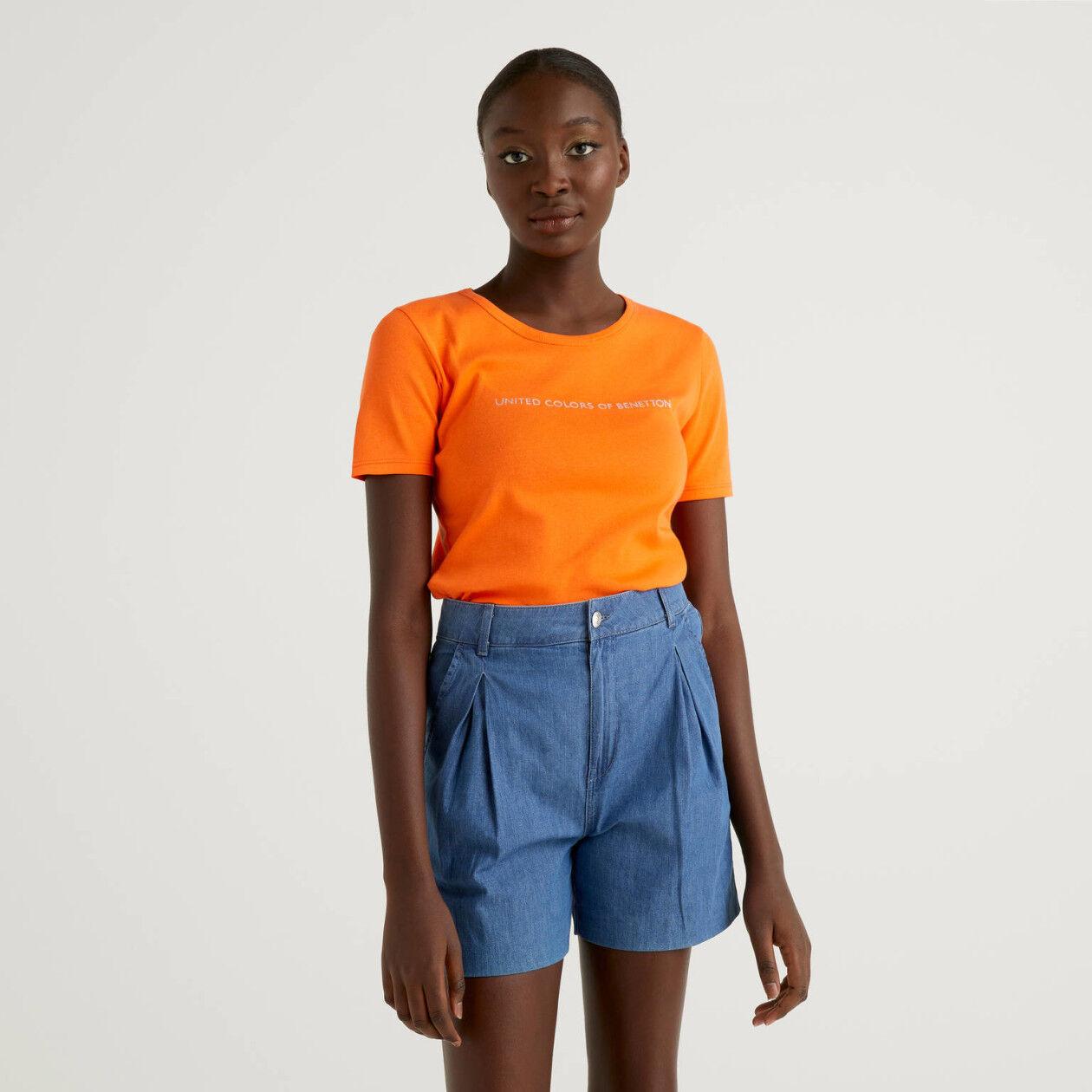 T-shirt 100% βαμβακερό με glitter τύπωμα