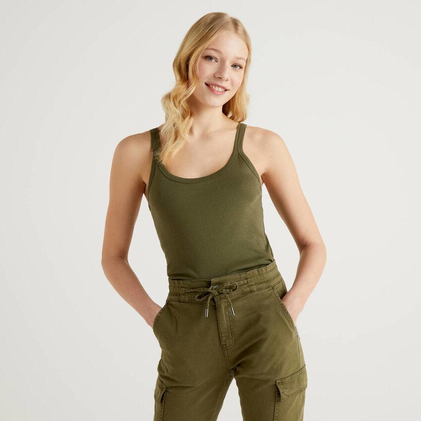 Φανέλα πράσινη militaire από αγνό βαμβακερό