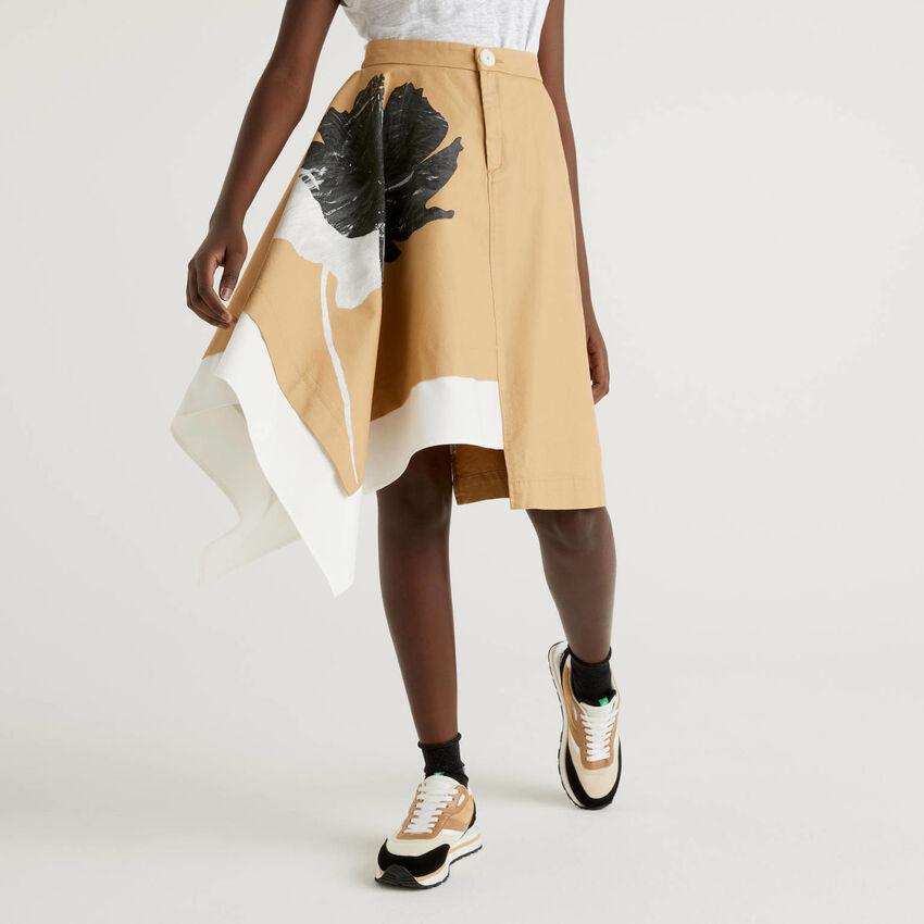 Φούστα ασύμμετρη από αγνό βαμβακερό