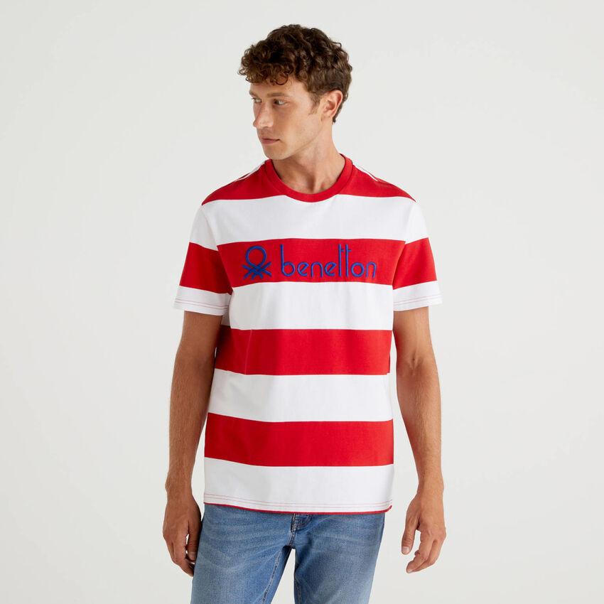 T-shirt ριγέ από 100% οργανικό βαμβακερό