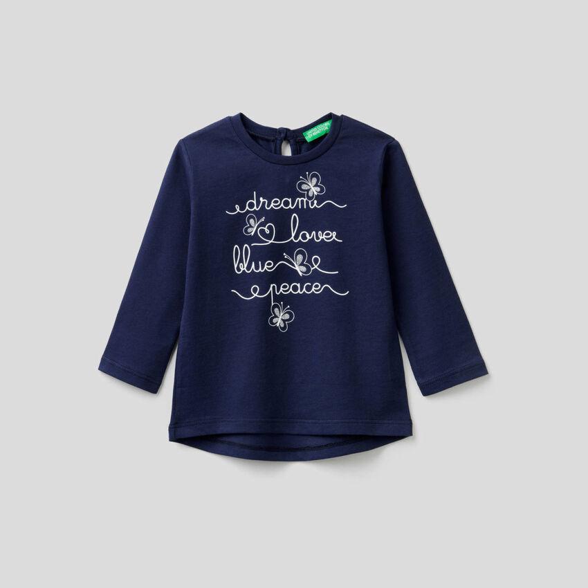 T-shirt μακρυμάνικο από αγνό βαμβακερό
