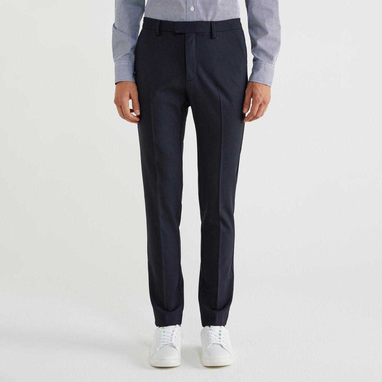 Παντελόνι slim fit από δροσερό μάλλινο