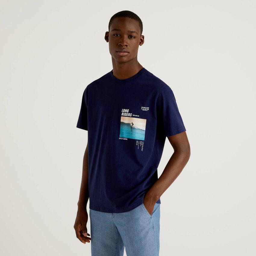 T-shirt μπλε σκούρο με τύπωμα φωτογραφία