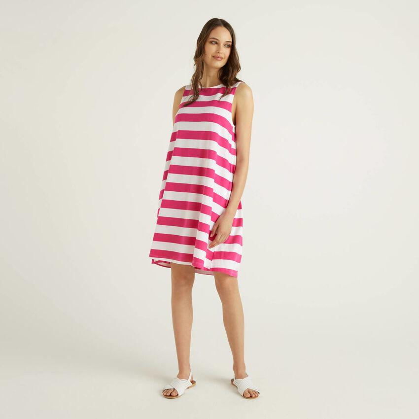 Φόρεμα κοντό αμάνικο ριγέ