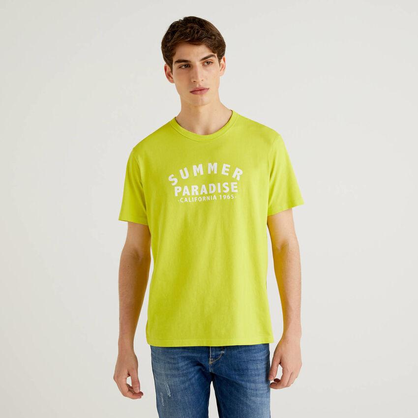 T-shirt κίτρινο lime 100% βαμβακερό με τύπωμα