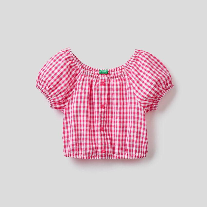 Μπλούζα cropped με σχέδια vichy