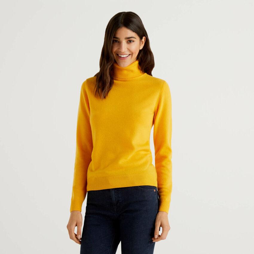 Πουλόβερ ζιβάγκο κίτρινο από αγνό παρθένο μαλλί