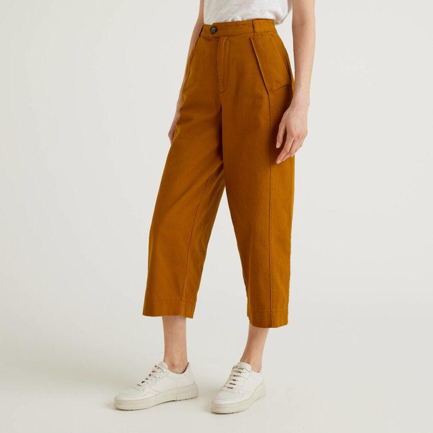 Παντελόνι με φαρδιά γάμπα από αγνό βαμβακερό