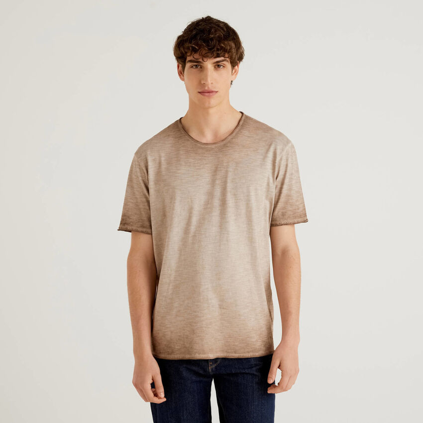 T-shirt από βαμβακερό εφέ ombre